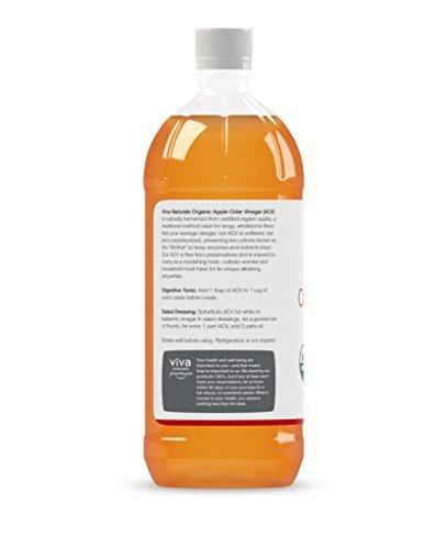 Viva Naturals-Viva Naturals Unfiltered Undiluted Non-GMO Organic Apple Cider Vinegar with the Mother, 32 oz