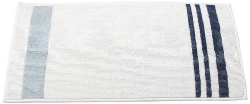 Coyuchi-Coyuchi Plush Rug, 21 by 34-Inch, White with Light Indigo-Pale Dusty Aqua