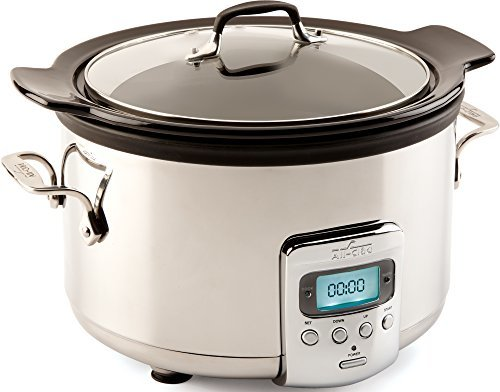 All-Clad-Programmable Oval-Shaped Slow Cooker with Black Ceramic Insert and Glass Lid