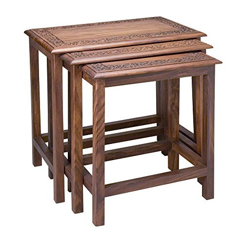 Ten Thousand Villages-Brown Shesham Wood Tables Set