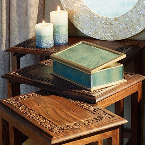 Ten Thousand Villages-Brown Shesham Wood Tables Set