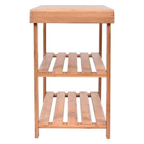 COSTWAY-Bamboo 2-Tier Shoe Bench Shoe Rack Seat