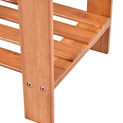 COSTWAY-2-tier Bamboo Shoe Bench Boot Rack