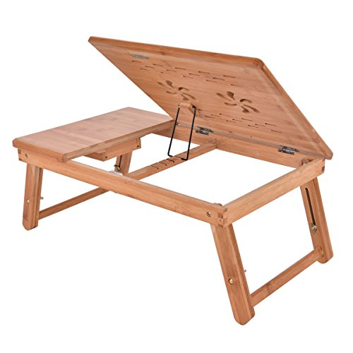 COSTWAY-Bamboo Lap Table Folding Desk Bed Tray Stand Adjustable Drawer