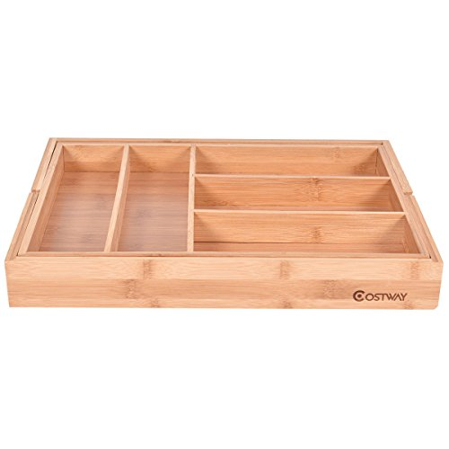 COSTWAY-Bamboo Drawer Utility Expandable Cutlery Organizer