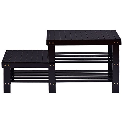 COSTWAY-2-tier Bamboo Shoe Bench Storage Racks Boot Organizer Double-Deck - Black