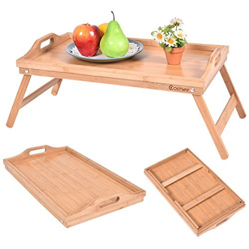COSTWAY-Bamboo Laptop Desk Table Portable Breakfast Serving Bed Tray Folding Leg With Handle