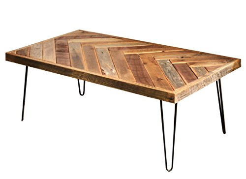 Grindstone Design-Barn wood herringbone coffee table with metal hairpin legs