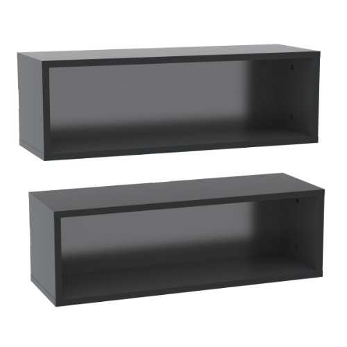 Nexera-Set of 2 Wall Shelves - Black