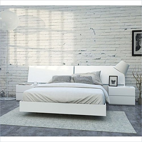 Nexera-4 Piece Queen Bedroom Set in - White Lacquer and Melamine