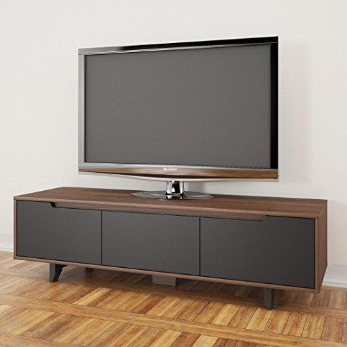 "Nexera-60"" Alibi TV Stand -Walnut and Charcoal"