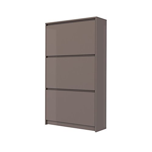 Tvilum-3 Drawer Shoe Cabinet - Mocha High Gloss