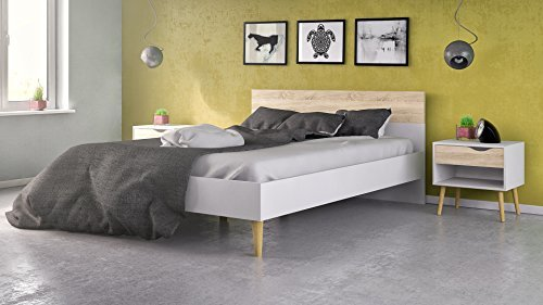 Tvilum-Tvilum Diana Queen Bed, White / Oak Structure, 75376/0349AK