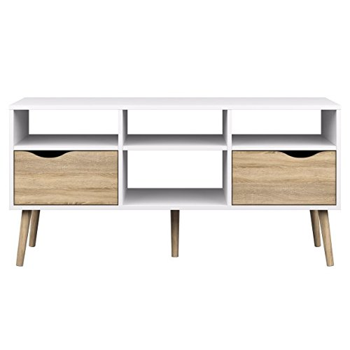 Tvilum-TV Stand with 2 Drawers and 4 Open Shelves