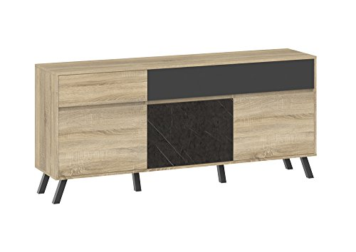 Tvilum-Nashville 2 Drawer and 3 Door Sideboard - Oak Structure/Grey/Greystone