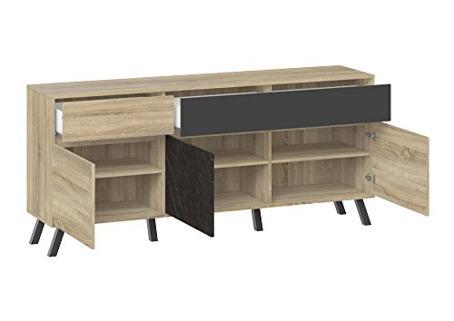 Tvilum-Nashville 2 Drawer and 3 Door Sideboard - Oak Structure/Grey/Greystone