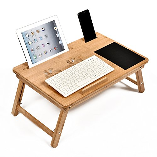 WELLAND-Bamboo Adjustable Laptop Desk Breakfast Serving Bed Tray