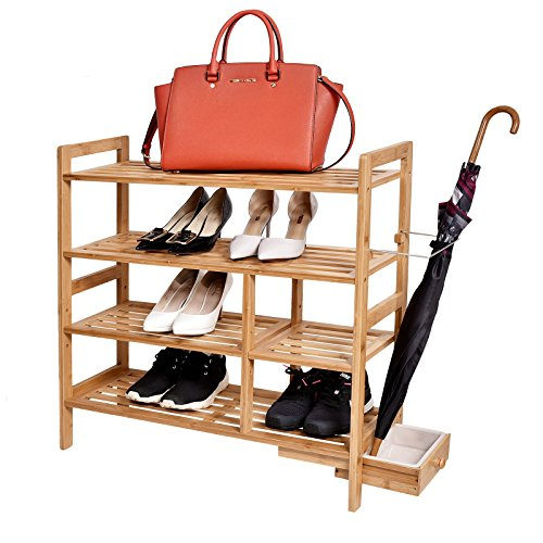 WELLAND-4-Tier Bamboo Shoe Rack with Hidden Umbrella Stand
