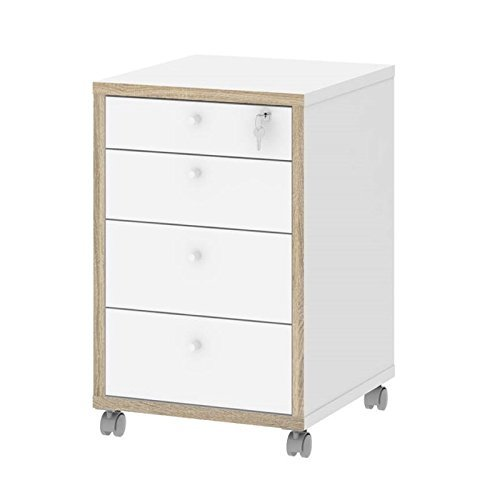 Tvilum-Tvilum Sonoma 4 Drawer Mobile File Cabinet in White and Oak Structure