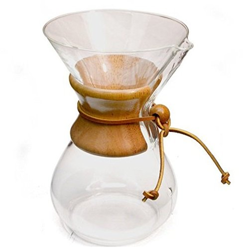 Chemex-Wood Collar and Tie Glass 6-Cup Coffee Maker with 100 Count Bonded Circle Coffee Filters
