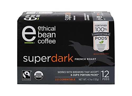 Ethical Bean Coffee-Ethical Bean Coffee 12 Compostable Single Serve Pods French Roast, Superdark, 4.7 Ounce