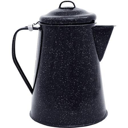 BLOSSOMZ-Granite Ware Coffee Boiler, Black, 3-Qt, All Purposed, Black