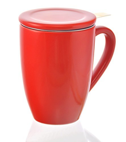 GROSCHE-Kassel Tea Infuser Mug / Teacup with Stainless Steel Infuser - red