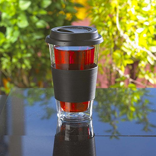 GROSCHE- Glassen Double walled travel mug with tea infuser