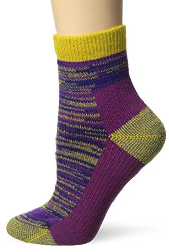 Farm to Feet-Farm to Feet Women's Bend Hiking 1/4 Crew Socks, Lemon Curry/Cranberry, Large