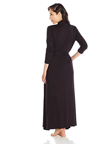 Between The Sheets-Between The Sheets Women's Matchplay Full Length Jersey Robe M Black