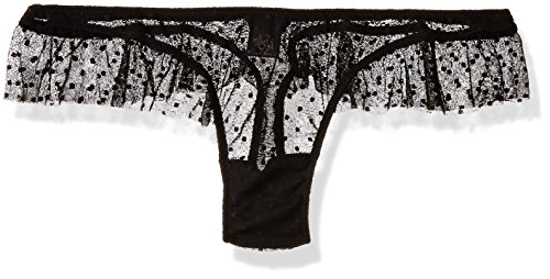 Only Hearts-Only Hearts Women's Coucou Lola Ruffle Thong, Black/Black, Small