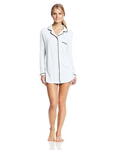 Only Hearts-Organic Cotton Piped Button Front Night Shirt