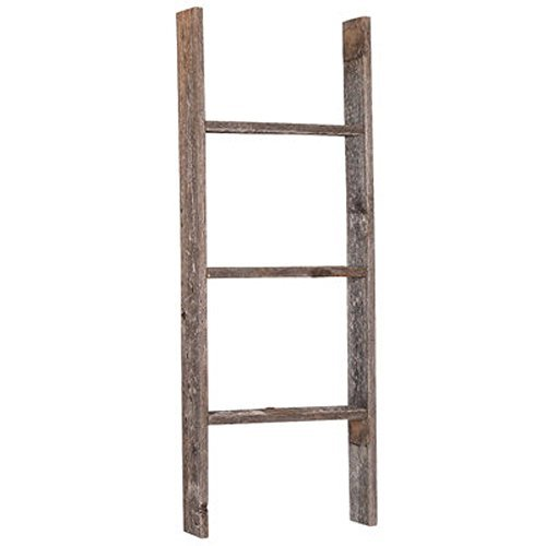 BarnwoodUSA-3 Foot Rustic Barnwood Blanket or Decoration Ladder