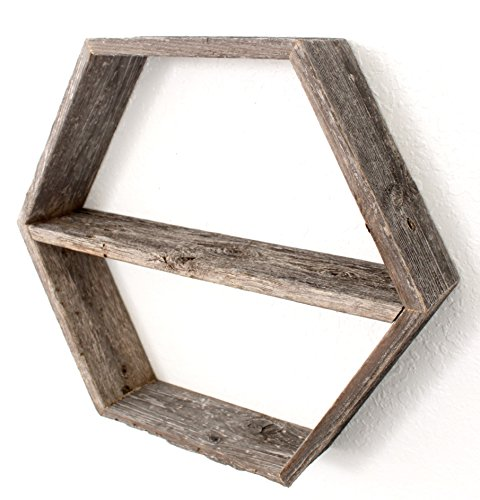 BarnwoodUSA-Rustic Wood Hexagon Shelf