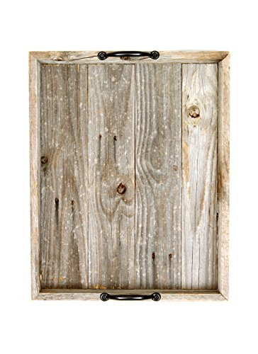 BarnwoodUSA-Rustic Wooden Serving Tray with Black Handles - Weathered Gray
