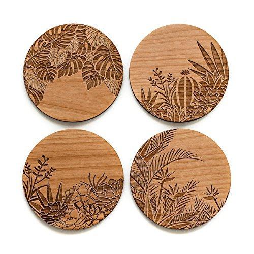 Cardtorial-Set of 4  Botanical Laser Cut Wood Coasters