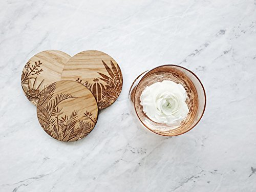 Cardtorial-Set of 4  Botanical Laser Cut Wood Coasters