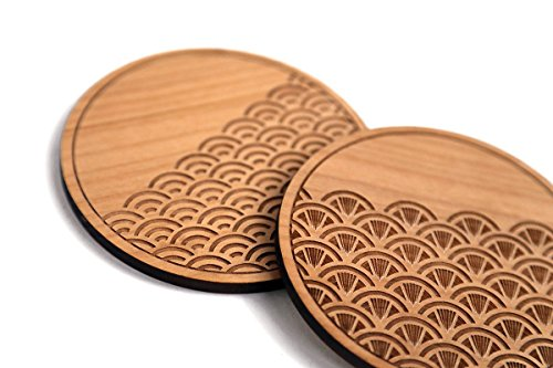 Cardtorial-Set of 4 Scallop Traditional Laser Cut Wood Coasters