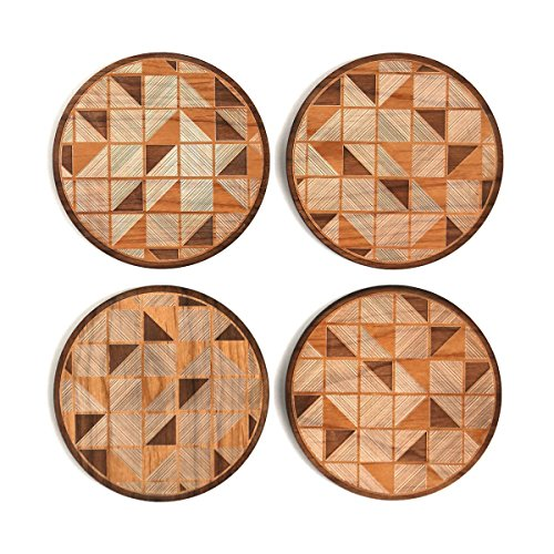 Cardtorial-Set of 4  Geo Tiles Laser Cut Wood Coasters