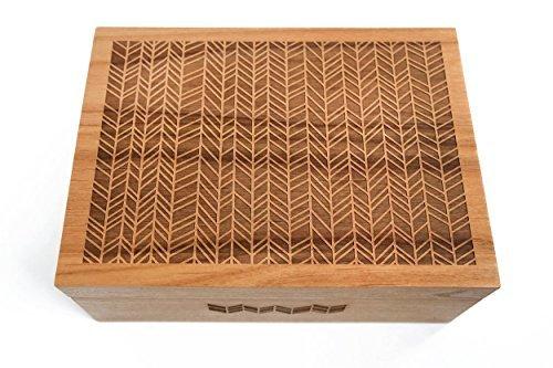 Cardtorial-Herringbone Laser Cut Wood Keepsake Box