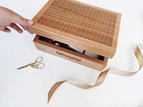 Cardtorial-Herringbone Laser Cut Wood Keepsake Box