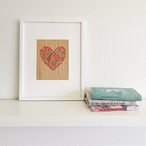 Cardtorial-Patchwork Heart Laser Cut 8x10 Wood Art Print