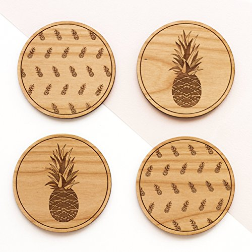 Cardtorial-Set of 4 Pineapple Laser Cut Wood Coasters