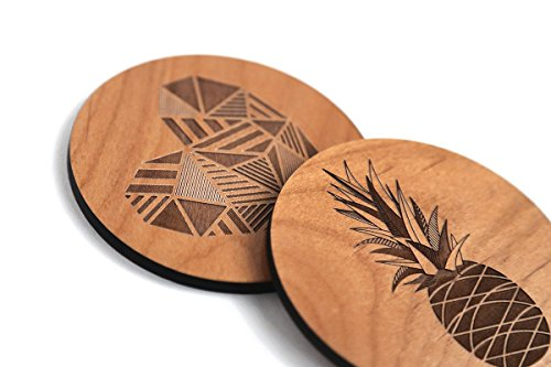 Cardtorial-Set of 4 Summer Fun Laser Cut Wood Coasters