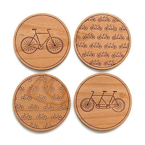 Cardtorial-Set of 4 Bikes Laser Cut Wood Coasters