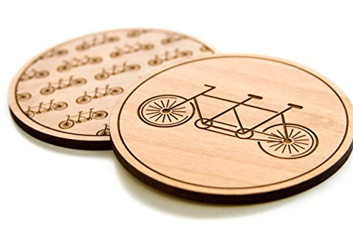Cardtorial-Set of 4 Bikes Laser Cut Wood Coasters