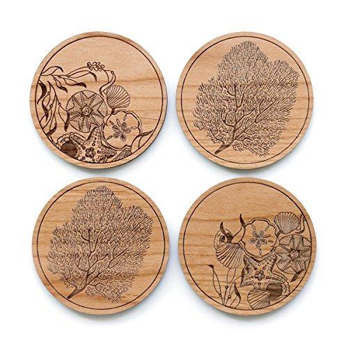 Cardtorial-Set of 4 Ocean Laser Cut Wood Coasters