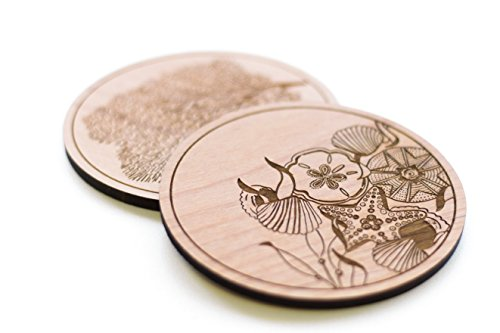 Cardtorial-Set of 4 Ocean Laser Cut Wood Coasters