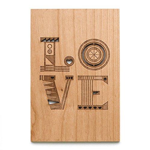 Cardtorial-Love Mixed Pattern Laser Cut Wood Card