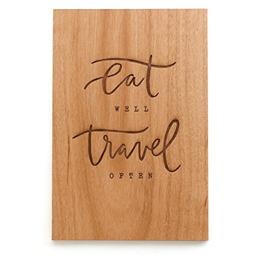 Cardtorial-Eat Well Travel Often Laser Cut Wood Greeting Card